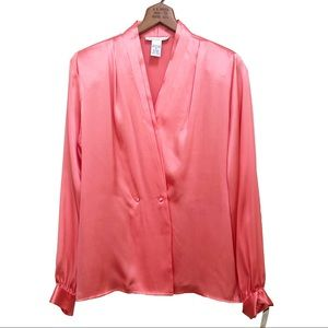Anna & Frank Vtg Silk Blouse Pleated Coral Pink M
